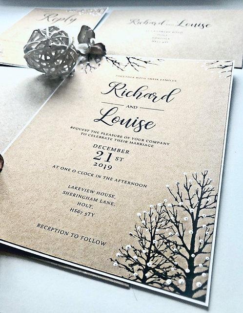 Rustic Winter Wedding Invitations