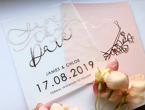 Rose Gold Foiled Vellum Save the Dates