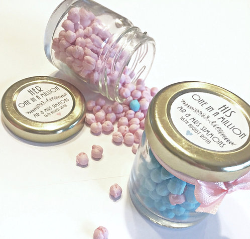 """""""One in a million"""" Sweet Favour Jars and Personalised Stickers"""