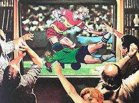 sports night men watching TV.