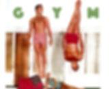 Fifties image of acrobatic men gym.