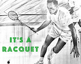 squah tennis player with racquet.