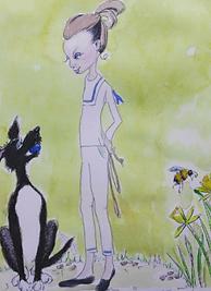 girl dog bee and daffodils .png