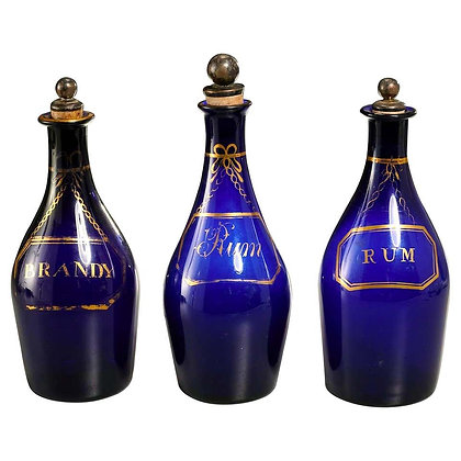 Collection of Three Rum and Brandy Early Cobalt Blue Bottles