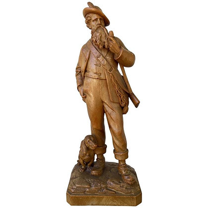 Great Swiss Black Forest Carving of a Hunter and His Dog, 19th Century
