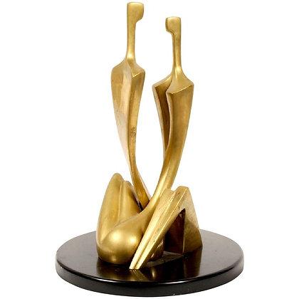Embraced Couple Bronze Sculpture by Itzik Ben Shalom