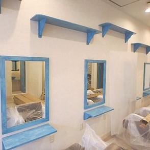 美容室①/什器・扉エージング 木に塗装