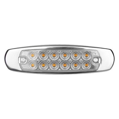 12 LED MARKER AMBER CLEAR LIGHT W/SS FLANGE