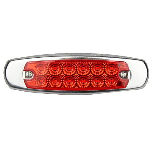 12 LED MARKER RED LIGHT W/SS FLANGE