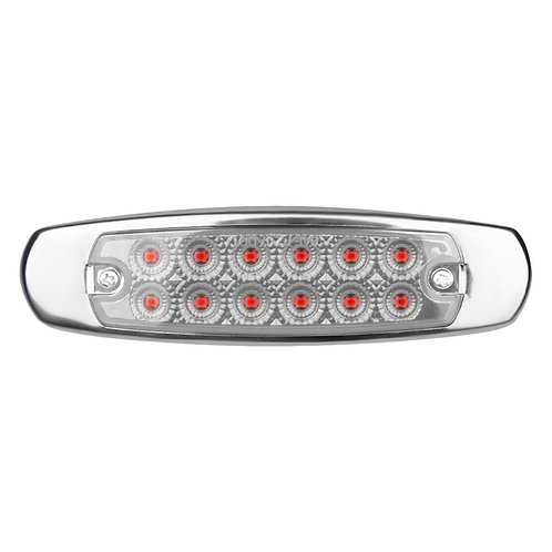 12 LED MARKER RED CLEAR LIGHT W/SS FLANGE