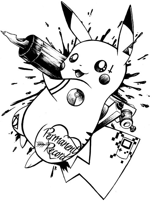 Tattoo Pikachu White T-shirt