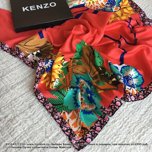 Kenzo Красно-голубой Цветы шелк 90/90 Шелковый Платок