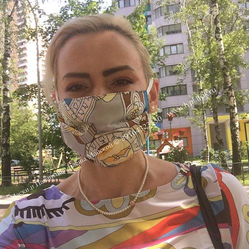 Маска Hermes Спектакуляр Шёлк Лимонно-бирюзовая Ручн.раб.