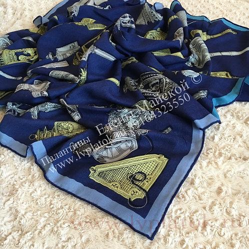 Hermes Lux Новый Палантин-Шаль Синий Антик