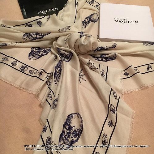 Alexander McQueen Шаль Молочный - Синие черепа
