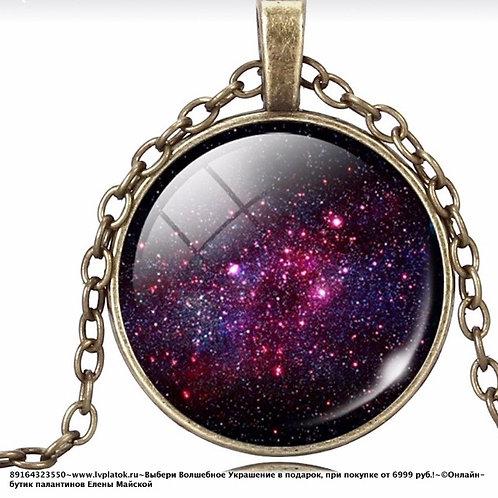 Ретро Кулон С Кабошоном Богемского Стекла Фиолетовый Туманность Андромеды
