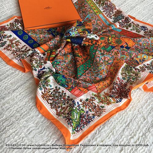Hermes Шелковая Шаль Оранжевый Флора