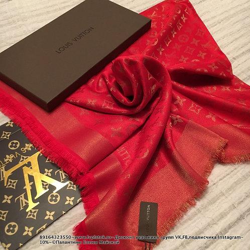 Louis Vuitton Monogram Shine  Шаль Красный/Золото