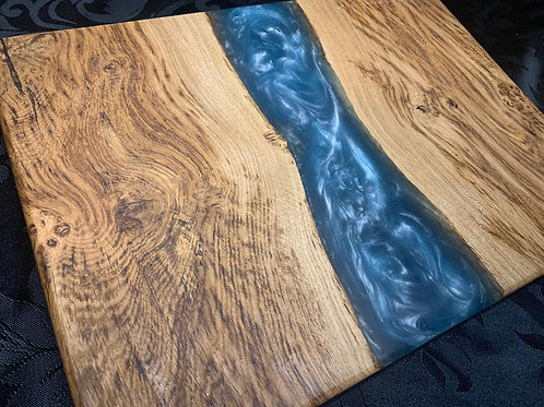 Small Brown Oak with Metallic Silver Blue Resin Chopping Board