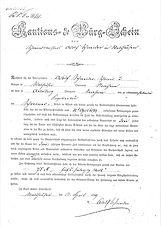 Historischer Kautions- und Bürgschein von 1879 St. Wendelin-Kapelle Arlesberg.