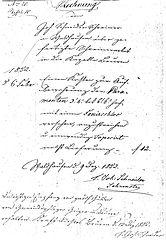 Historische Rechnung von 1852, Schreinerarbeiten für die St. Ottilien-Kapelle Beuren