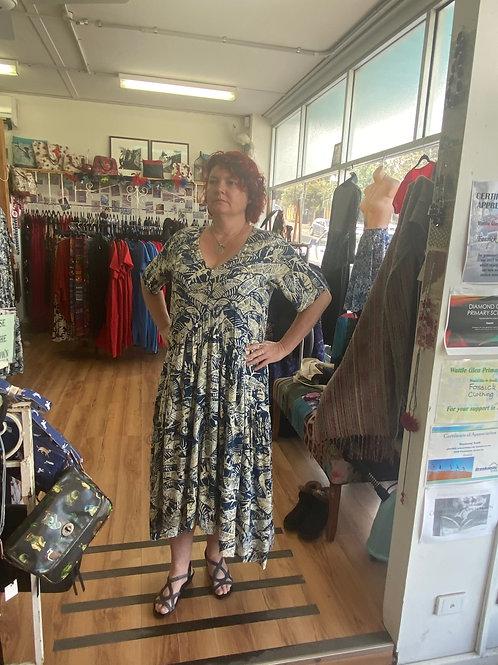 Canary Island leaf print maxi dress - with pockets!