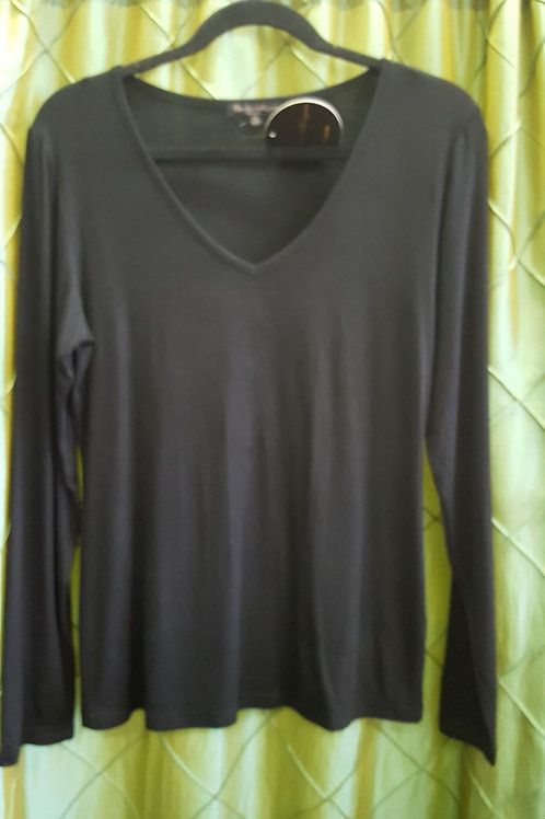 Black V Neck Basic Top