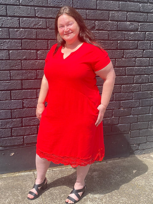 Red lace pocket dress