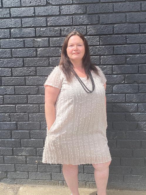 Latte capped sleeve dress