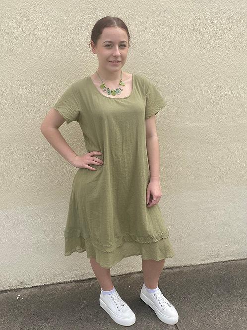 Khaki capped sleeve dress