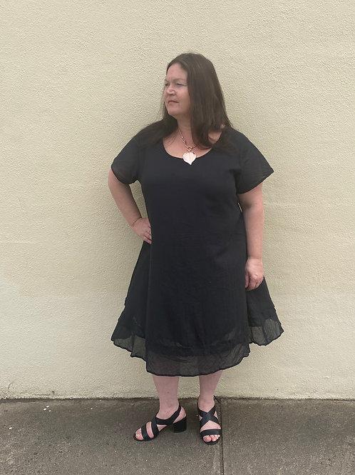 Black capped sleeve dress