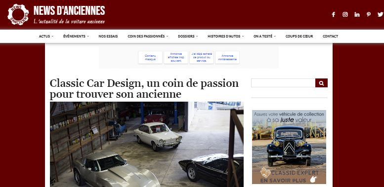 Reportage News d anciennes classic car design