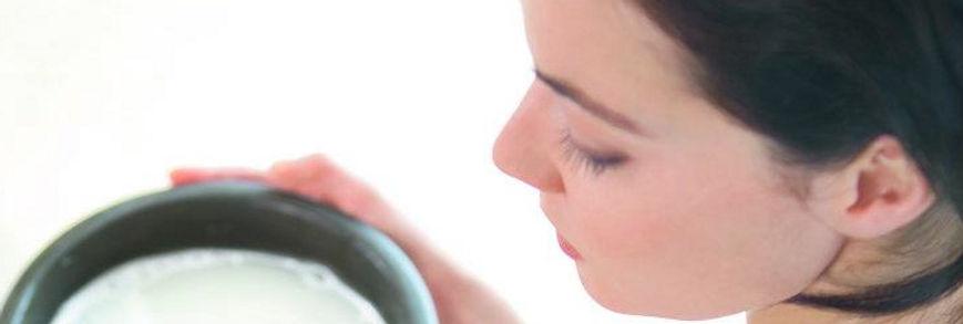girls with milk bowl