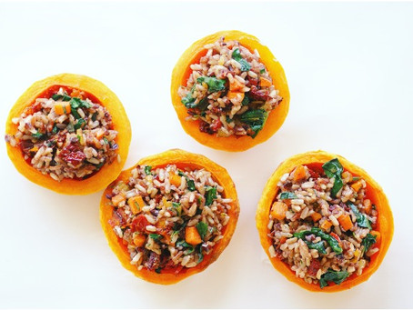 Wild Rice Stuffed Butternut Squash