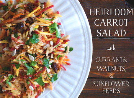 Heirloom Carrot Salad with Currants, Walnuts and Sunflower Seeds