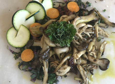 Kale Salad with Warm Mushroom, Hemp Oil, and Balsamic Dressing