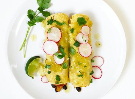 Butternut Squash Enchiladas with Tomatillo Salsa