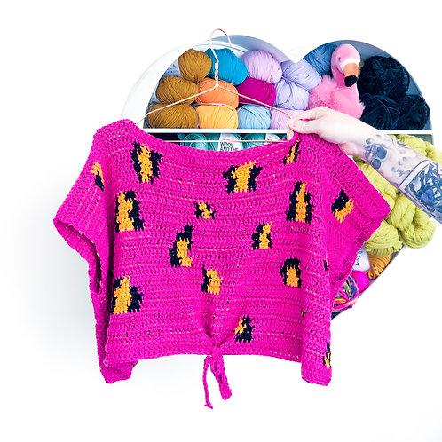 Leopard Print Tie Top - Crochet Pattern