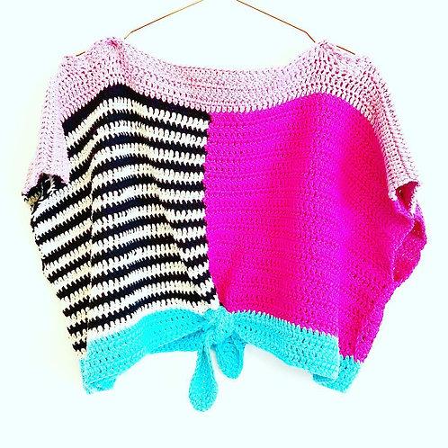 Colour Block Cropped Top - Crochet Pattern