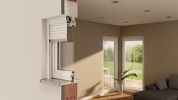 window integrated roller shutter