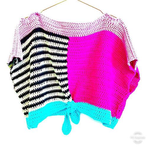 Stripe Colour-Block Crop Top