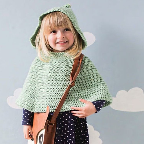 Pompom Hooded Cape - Crochet Pattern