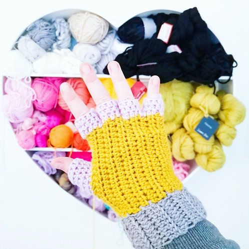 Colour Block Fingerless Gloves