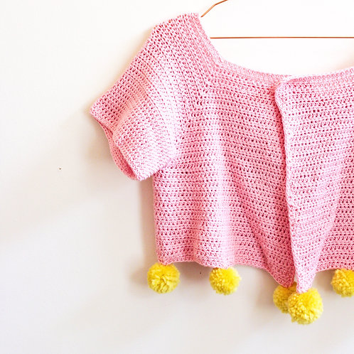 Cropped Pompom Cardigan - Crochet Pattern
