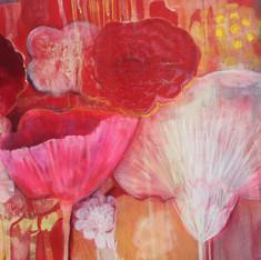 Floating Floral, Red (detail)