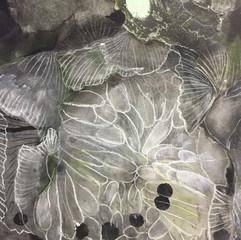 Floating Floral, Black (detail)