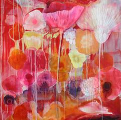 Floating Floral, Red