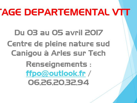 Stage départemental VTT