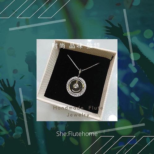 She.Flutehome sterling sliver crystal flute necklace