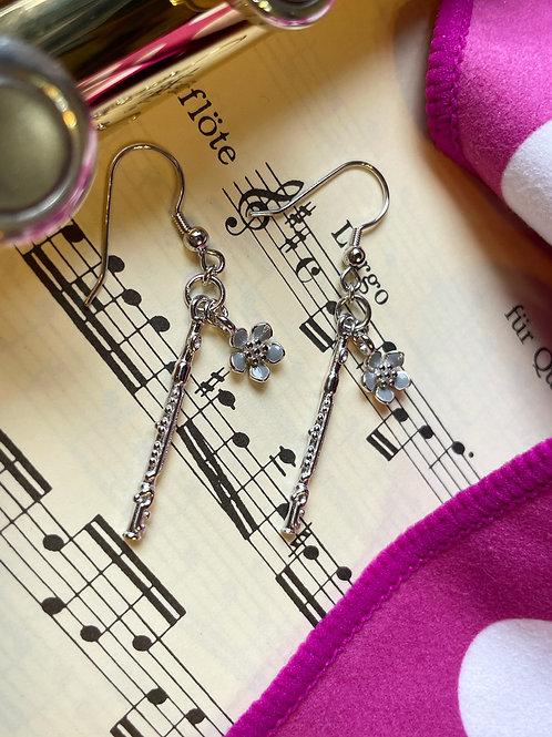 Flutehome Flute Pendant Earrings 長笛銀飾耳環